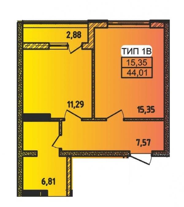 Планировки однокомнатных квартир 44.01 м^2